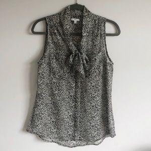 Gap Sheer Patterned Sleeveless Bow Blouse